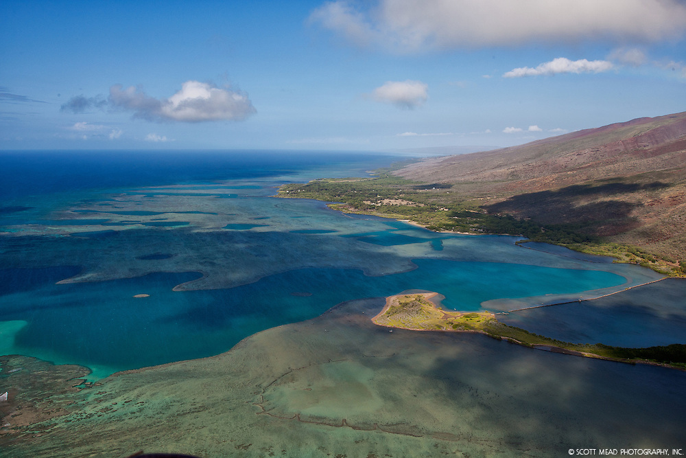 Aerial image of Molokai shoreline with view of underwater coral
