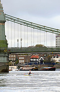 London, United Kingdom. Sophie HOSKING approaching Hammersmith Bridge, 2009  Women's Wingfield Sculls, Raced over the Championship Course,  Putney to Mortlake, Thursday  05/11/2009 [Mandatory Credit Peter Spurrier/ Intersport Images]