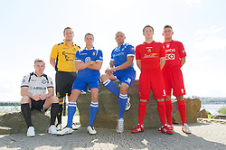 CARDIFF, WALES - Tuesday, August 14, 2012: Welsh Premier League clubs with Macron kit at the launch the 2012/2013 Welsh Premier League at the St. David's Hotel. L-R: Tom Field (Airbus UK), Paul Fowler (Carmarthen Town), Lee Idzi (Bangor City), Cortez Belle (Port Talbot Town), Antonio Corbisiero (Llanelli AFC), Shane Sutton (Newtown AFC). (Pic by David Rawcliffe/Propaganda)