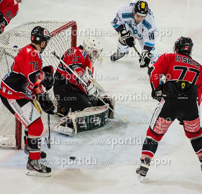 25.01.2013, Tiroler Wasserkraft Arena, Innsbruck, AUT, EBEL, HC TWK Innsbruck vs SAPA Fehervar AV19, Platzierungsrunde, im Bild Aaron Fox, (HC TWK Innsbruck, # 76), Patrick Machreich, (HC TWK Innsbruck, # 33), Tyler Metcalfe, (SAPA Fehervar AV19, #10), Jonathan Insana, (HC TWK Innsbruck, # 77) // during the Erste Bank Icehockey League placement Round match between HC TWK Innsbruck and SAPA Fehervar AV19 at the Tiroler Wasserkraft Arena, Innsbruck, Austria on 2013/01/25. EXPA Pictures © 2013, PhotoCredit: EXPA/ Eric Fahrner