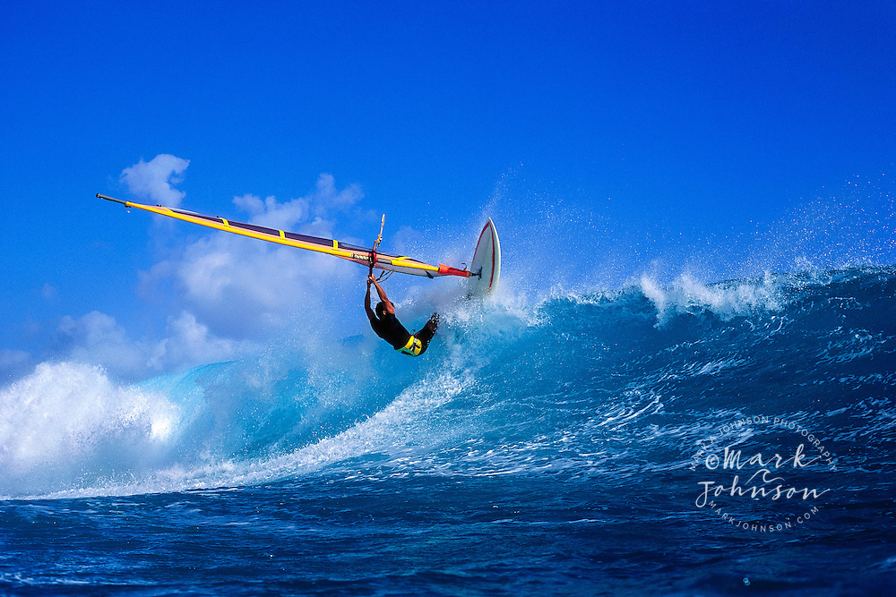 Windsurfing in surf, Hawaii