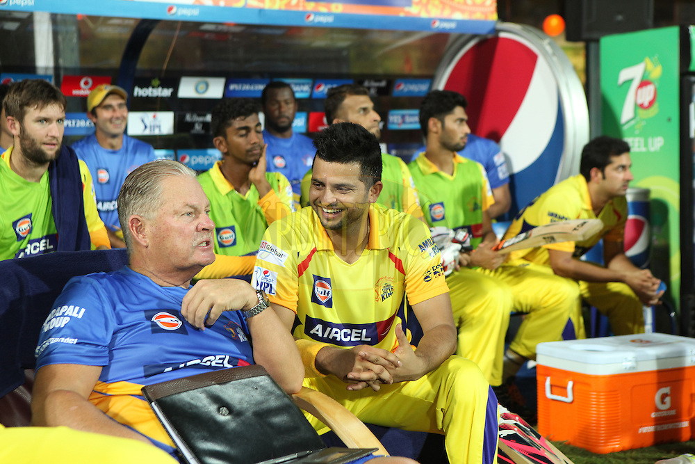 Raina and others at csk dugout during match 47 of the Pepsi IPL 2015 (Indian Premier League) between The Chennai Superkings and The Rajasthan Royals held at the M. A. Chidambaram Stadium, Chennai Stadium in Chennai, India on the 10th May 2015.<br /> <br /> Photo by:  Saikat Das / SPORTZPICS / IPL
