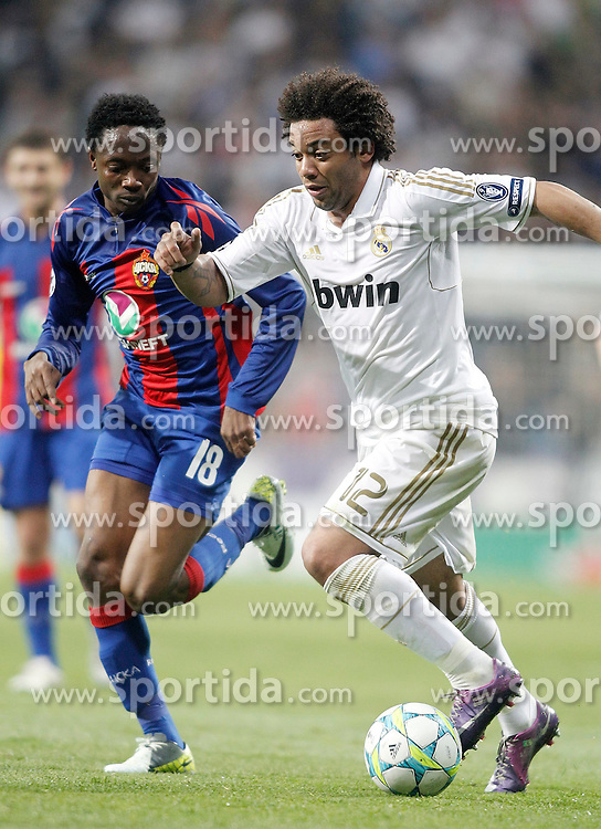 14.03.2012, Santiago Bernabeu Stadion, Madrid, ESP, UEFA CL, Achtelfinal-Rueckspiel, Real Madrid vs ZSKA Moskau, im Bild Real Madrid's Marcelo against CSKA Moscow's Ahmed Musa // during the UEFA Champions League round of 16 second leg Match between Real Madrid vs CSKA Moscow at the Estadio Santiago Bernabeu, Madrid, Spain on 2012/03/14. EXPA Pictures © 2012, PhotoCredit: EXPA/ Alterphotos/ Alvaro Hernandez..***** ATTENTION - OUT OF ESP and SUI *****
