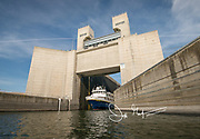 The National Geographic Sea Lion expedition ship transits Lower Monumental Lock on the Snake River.