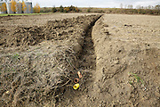 water drainage placed in the ground of a agricultural field