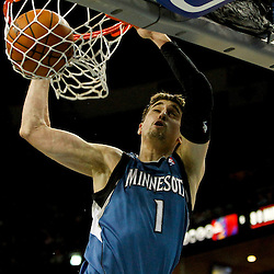 Jan 11, 2013; New Orleans, LA, USA; Minnesota Timberwolves point guard Alexey Shved (1) dunks against the New Orleans Hornets during the second quarter of a game at the New Orleans Arena. Mandatory Credit: Derick E. Hingle-USA TODAY Sports