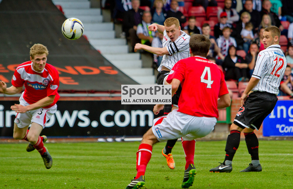 Dunfermline Athletic v Brechin City SPFL League One East End Park 09 August 2014<br /> <br /> Andy Geggan hits a spectacular volley<br /> <br /> CRAIG BROWN | sportPix.org.uk