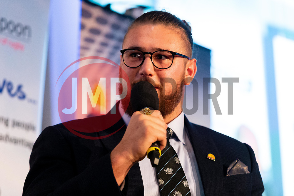 David Flatman talks with Alec Hepburn and Harry Williams at the annual Exeter Chiefs Foundation Christmas Dinner at Sandy Park - Ryan Hiscott/JMP - 07/12/2018 - RUGBY - Sandy Park - Exeter, England - Exeter Chiefs Foundation Christmas Dinner with David Flatman
