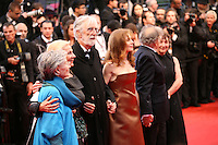 Emmanuelle Riva, Susanne Haneke, director Michael Haneke, Isabelle Huppert, Jean-Louis Trintignant attending the gala screening of Amour at the 65th Cannes Film Festival. Sunday 20th May 2012 in Cannes Film Festival, France.