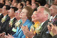 HONG KONG: Former Hong Kong Governor Chris Patten(R) is shown with former Chief Secretary Anson Chan and former British Prime Minister Margaret Thatcher at the dedication of the Tsing Ma Bridge.  Patten was the 28th and last  British Governor of Hong Kong from 1992 until the handover on July 1, 1997. During his 5 years in office his most controversial actions related to the election of the Hong Kong Legislative Council. Legco members returned in 1995 were originally to serve beyond the handover, thereby providing institutional continuity across the reversion of Hong Kong to China.  He was fairly popular as a governor and the people in Hong Kong affectionately nicknamed him Fat Pang or Fei Peng, making him the first and only governor to have a Chinese nickname. (Photo by David Paul Morris) ..