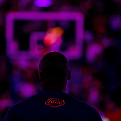 Apr 8, 2016; New Orleans, LA, USA; Los Angeles Lakers forward Kobe Bryant stands during the national anthem before a game against the New Orleans Pelicans at the Smoothie King Center. Mandatory Credit: Derick E. Hingle-USA TODAY Sports