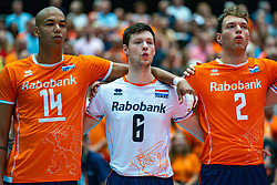 09-08-2019 NED: FIVB Tokyo Volleyball Qualification 2019 / Netherlands, - Korea, Rotterdam<br /> First match pool B in hall Ahoy between Netherlands - Korea (3-2) for one Olympic ticket / (L-R) Nimir Abdelaziz #14 of Netherlands, Just Dronkers #6 of Netherlands, Wessel Keemink #2 of Netherlands