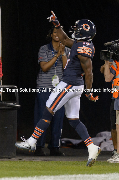 19 September 2016: Chicago Bears Wide Receiver Eddie Royal (19) [9374] celebrates returning a punt for a touchdown during an NFL football game between the Philadelphia Eagles and the Chicago Bears at Solider Field in Chicago, IL. The Philadelphia Eagles won 29-14. (Photo by Daniel Bartel/Icon Sportswire)
