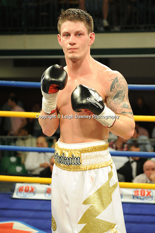 Liam Shinkwin (pictured) defeats Sid Razak at York Hall, Bethnal Green, London on Friday 30th September 2011. Boxnation.tv's debut live TV Channel 456 on Sky. Photo credit: © Leigh Dawney. Queensberry Promotions.