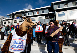 Gams Janez with fans during the Men 10 km Sprint of the e.on IBU Biathlon World Cup on Saturday, December 18, 2010 in Pokljuka, Slovenia. The fourth e.on IBU World Cup stage is taking place in Rudno polje - Pokljuka, Slovenia until Sunday December 19, 2010. (Photo By Vid Ponikvar / Sportida.com)
