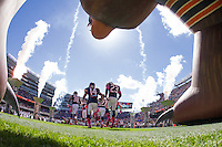 06 October 2013: The Chicago Bears enter the field during player introductions before the New Orleans Saints 26-18 victory over the Bears in an NFL Game at Soldier Field in Chicago, IL.