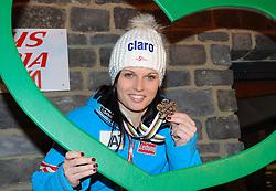 14.02.2013, Ski Austria Haus, Schladming, AUT, FIS Weltmeisterschaften Ski Alpin, Riesentorlauf, Damen, Medaillenfeier, im Bild Anna Fenninger (AUT, 3. Platz) // 3rd place Anna Fenninger of Austria at the Medal Party for Ladies Giant Slalom at the FIS Ski World Championships 2013 at the Ski Austria House, Schladming, Austria on 2013/02/14. EXPA Pictures © 2013, PhotoCredit: EXPA/  Erich Spiess