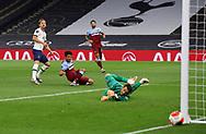 Harry Kane of Tottenham shoots wide past Lukasz Fabianski of West Ham United during the Premier League match at the Tottenham Hotspur Stadium, London. Picture date: 23rd June 2020. Picture credit should read: David Klein/Sportimage