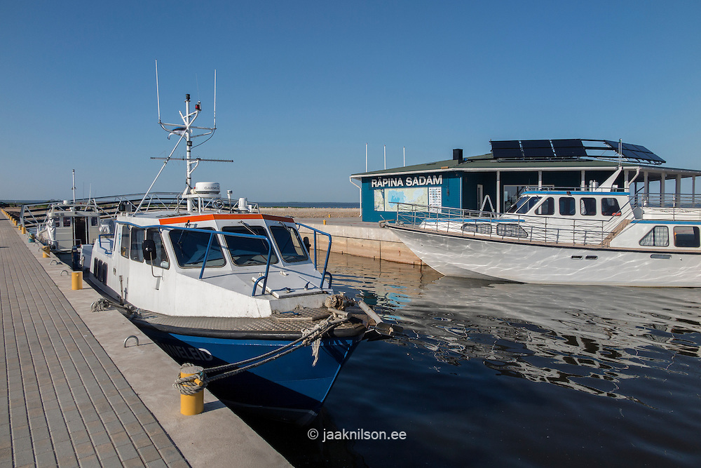 Räpina marina for small boats in Estonia. Ships at harbor building, lake Peipsi.