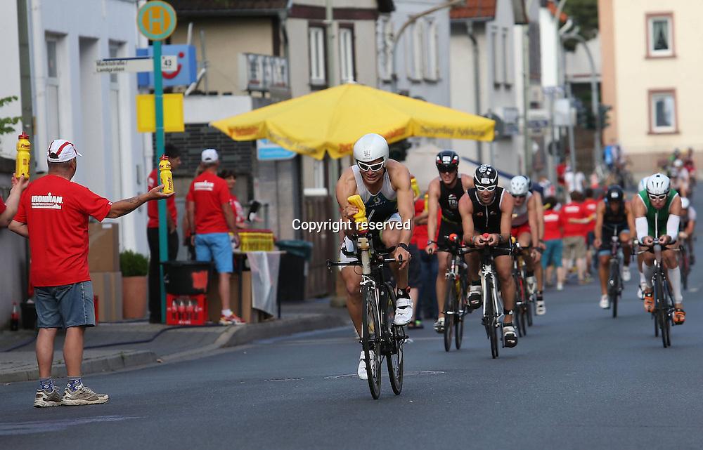 06.07.2014, Frankfurt, Germany. Ironman European Championships.  Cyclists in Frankfurt
