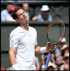 ©Licensed to i-Images Picture Agency. 02/07/2014. London, United Kingdom. <br /> In the Frame - Andy Murray. Murray Lost first set. <br /> Andy Murray  v Grigor Dimitrov on centre court in the  Mens Quarter Finals at Wimbledon. Picture by Andrew Parsons / i-Images