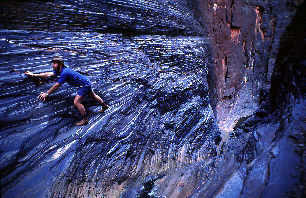 Stepped walls of Hancock Gorge, Karajini National Park. The Pilbara region of Western Australia.©David Dare Parker/Network Photographers