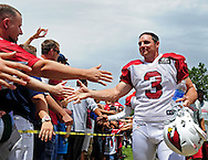 Jul. 28, 2012; Flagstaff, AZ, USA; Arizona Cardinals kicker Jay Feely (3) makes his way to the field prior to training camp practice on the campus of Northern Arizona University.  Mandatory Credit: Jennifer Stewart-US PRESSWIRE.
