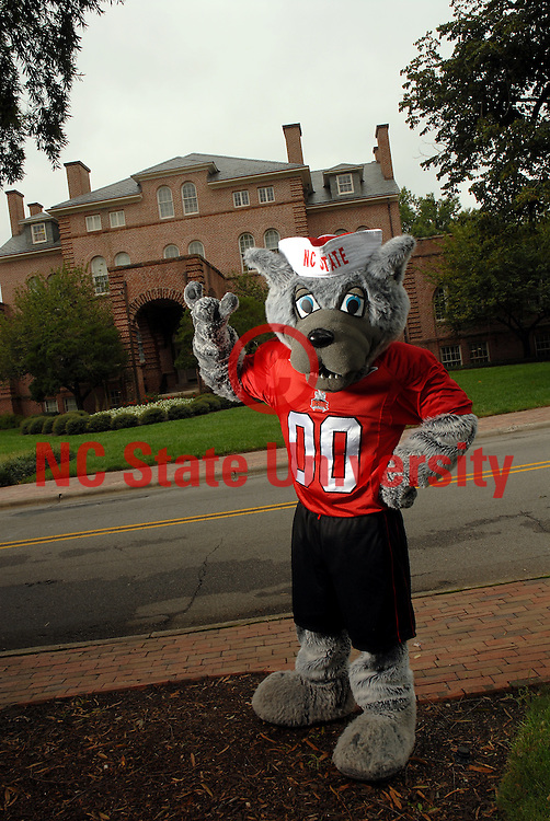 Mr Wuf in front of Holladay Hall. PHOTO BY ROGER WINSTEAD