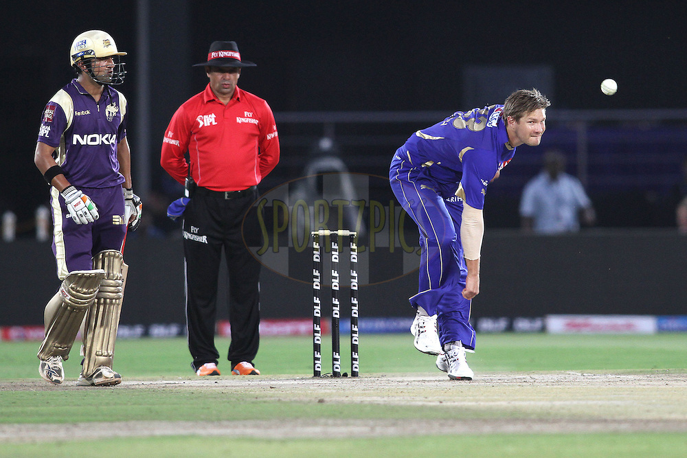 Shane Watson of the Rajasthan Royals sends down a delivery during match 12 of the the Indian Premier League ( IPL ) Season 4 between the Rajasthan Royals and the Kolkata Knightriders held at the Sawai Mansingh Stadium, Jaipur, Rajatshan, India on the 15th April 2011..Photo by Shaun Roy/BCCI/SPORTZPICS