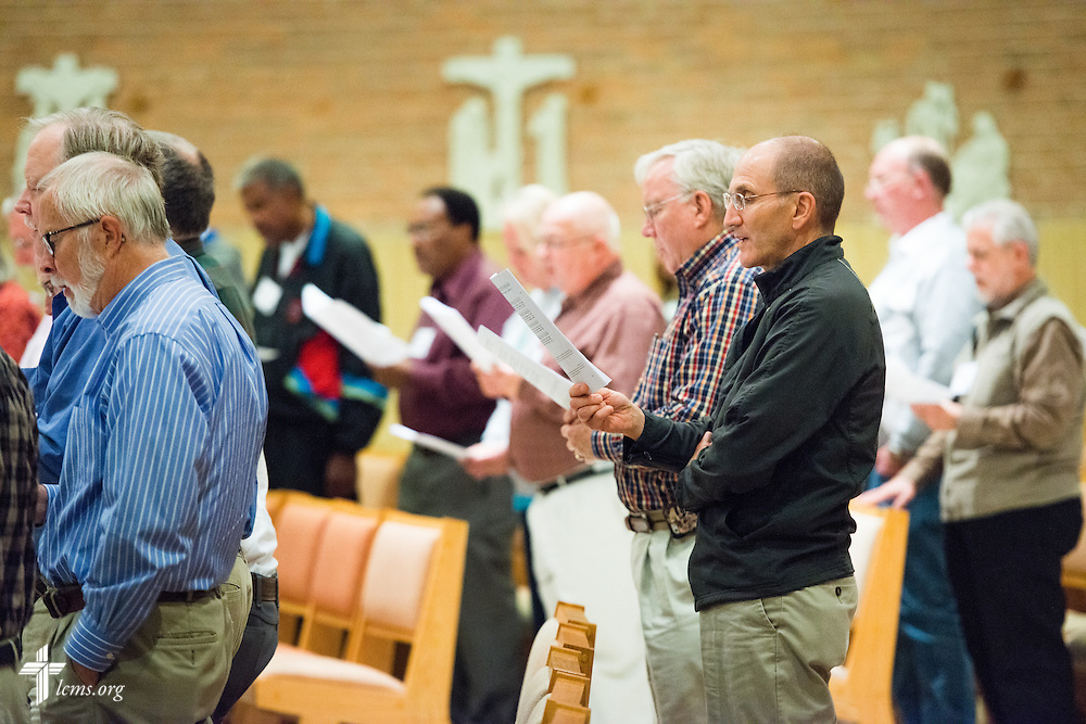 Chaplains sing at evening worship during the LCMS Specialized Pastoral Ministry Educational Event and Retreat at the Mercy Conference and Retreat Center on Wednesday, Oct. 29, 2014, in Frontenac, Mo. LCMS Communications/Erik M. Lunsford