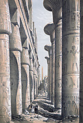 Grand Temple at Karnak', 1843. Lithograph after Owen Jones and Jules Goury. Hypostyle hall of Temple of Amun, Thebes (Luxor). Closed bud papyrus capitals, left, open bud, right. Ancient Egypt Archaeology  Religion Mythology