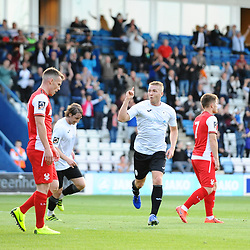 TELFORD COPYRIGHT MIKE SHERIDAN GOAL. Darryl Knights scores to make it 1-0 during the National League North fixture between AFC Telford United and Kidderminster Harriers on Tuesday, August 6, 2019.<br /> <br /> Picture credit: Mike Sheridan<br /> <br /> MS201920-006