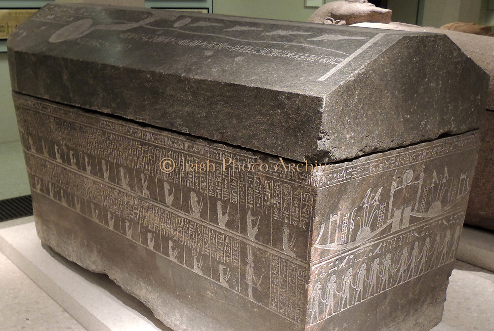 Sarcophagus of the general Pedi iset, 746-332 BC granite Sarcophagus of Anch-Hor with illustrations of daemons of the Netherworld, 746-332 BC Memphis Granodiorite.