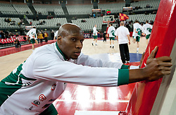 Kenny Gregory (9) of Olimpija at warming up prior to the Euroleague Top 16 basketball match between Lottomatica Virtus Roma (ITA) and KK Union Olimpija Ljubljana (SLO) in Group F, on January 20, 2011 in Arena PalaLottomatica, Rome, Italy. (Photo By Vid Ponikvar / Sportida.com)