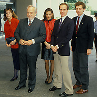 The royal Family of Monaco, House of Grimaldi, outside the State Department in Washington, DC in 1984. From left: Princess Caroline, Prince Ranier, Princess Stephanie, Prince Albert and Stefano Casiraghi, Caroline's husband.
