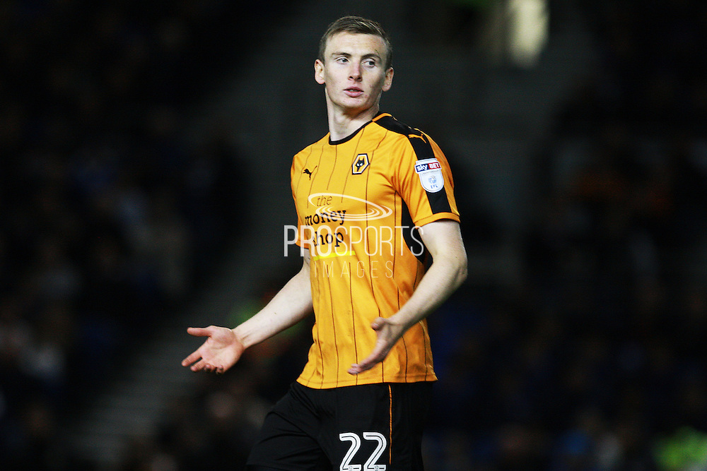 Wolverhampton Wanderers striker Jon Dadi Bodvarsson (22) during the EFL Sky Bet Championship match between Brighton and Hove Albion and Wolverhampton Wanderers at the American Express Community Stadium, Brighton and Hove, England on 18 October 2016. Photo by Bennett Dean.