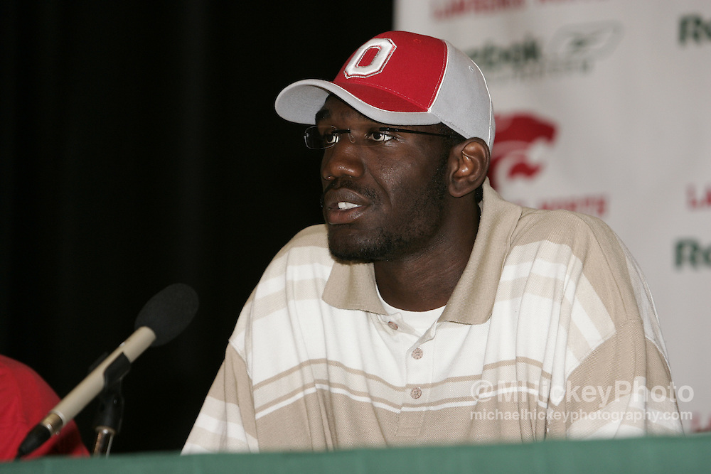 Greg Oden of Lawrence North High School, Indianapolis, IN announces his intention of attending and playing basketball at Ohio State University in the fall of 2006. The joint press conference with teammate Mike Conley was held at their high school in Indianapolis, IN June 29, 2005.