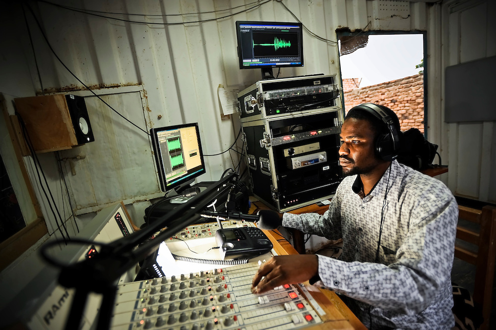 Radio Sila journalist Rachat Hassom Taha, 30, dj's during a radio program in Goz Beida, Chad. In February, Hassom was awarded the 2011 prize of excellence in journalism in a national competition organized by the Chadian High Council of Communication (Haut Conseil de la Communication, HCC) to recognize the hard work of local journalists.