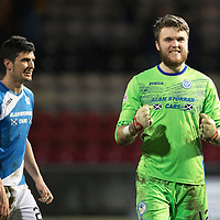 Partick Thistle v St Johnstone…01.02.17     SPFL    Firhill<br />Happy faces at full time for Zander Clark and Graham Cummins<br />Picture by Graeme Hart.<br />Copyright Perthshire Picture Agency<br />Tel: 01738 623350  Mobile: 07990 594431