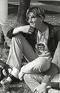 A teenage boy dresses as a hippie during homecoming week at Monache High School in Porterville, California located in the central valley in 1989.