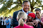 Rev. Jesse Jackson hugs hospital employees during a prayer vigil for Duncan at Texas Health Presbyterian Hospital on October 7, 2014, in Dallas. (Cooper Neill for The New York Times)