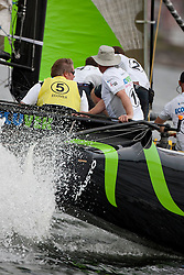 "© Sander van der Borch. Kiel - Germany, 27th of August 2009. iShares cup. Practice day...The first day of racing as part of the media day. the teams practice on the inland canal close to the city centre. Onboard the extreme 40 ""Ecover"" with skipper and helmsman Mike Golding.."