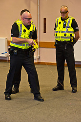 EMBARGOED TILL 16:00 14 DECEMBER 2017<br /> <br /> Pictured: Inspector Jim Young demontstrated the Taser X2 with colleagues Sergeant Dale Martin and Constable Simon Ashley.<br /> <br /> Deputy Chief Constable Johnny Gwynne was at Tullialan Police College today to make an announcement on police officer safety with 500 sadditional officers being trained and deployed with tasers to combat the number of incidents where officers are injured.<br /> <br /> Ger Harley | EEm 14 December 2017