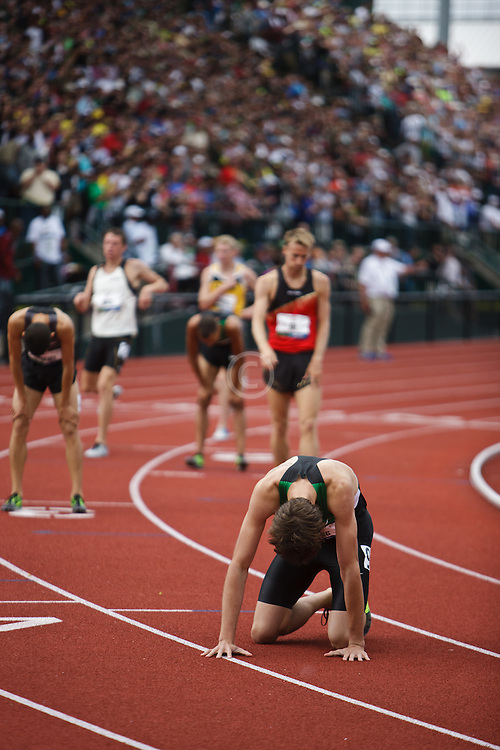 Olympic Trials Eugene 2012: men's 1500 meter final, finish, Wheating on hands and knees