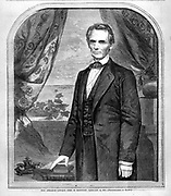 Abe Lincoln after election to his first term as President in November 1860 on the front page of Harper's Weekly Nov. 10th issue. The illustration is of a clean shaven Lincoln after a photo by Brady, on the eve of the Civil War.