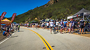 Fans at the Amgen Tour of California bicycle race, Santa Monica Mountains, California USA