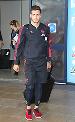 Diogo Dalot is spotted at the Manchester Airport, UK as the Manchester United Football Club return from their USA Pre-Season tour on July 1, 2018.