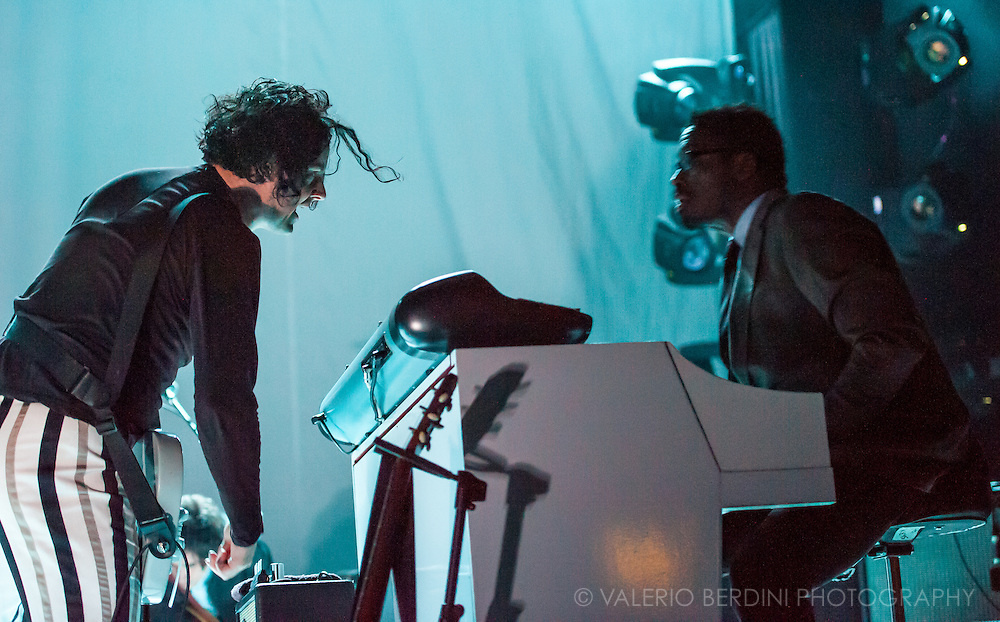 "Jack White plays live at the Brixton Academy with his all male band, The Buzzards. Here with Isaiah Randolph ""Ikey"" Owens who passed away in October 2014"