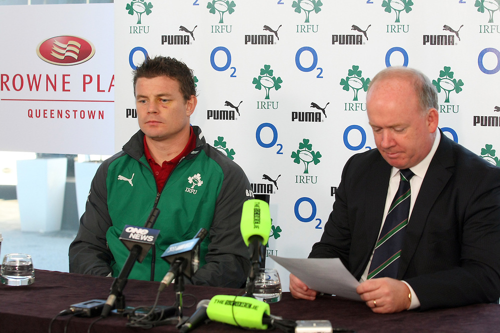 Ireland's captain Brian O'Driscoll, left, and coach Declan Kidney at the Ireland team announcement for the third test against New Zealand, Crowne Plaza Hotel, New Zealand, Thursday, June 21, 2012. Credit:SNPA / Dianne Manson