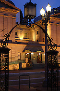 Pioneer Courthouse at night. Though the gate at Pioneer Square